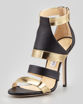 Jimmy Choo Besso Mixed-Leather Sandal - Neiman Marcus