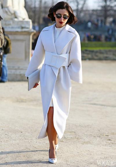 jacket trench coat coat streetstyle style fashion white coat white trench Belt