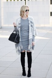 straight a style,blogger,dress,bag,handbag,boots,over the knee boots,grey dress,cardigan,fall outfits