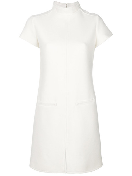 COURRÈGES dress sweater dress high women high neck spandex white wool