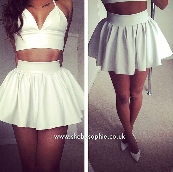 New Ladies Sexy Black Party White Extra Short Flared Tutu Pleated ...