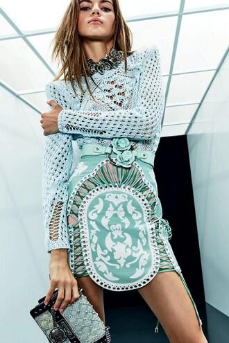 skirt sweater balmain paris fashion week 2017 mini skirt knitwear model