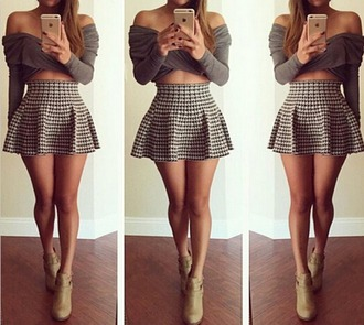 top skirt off the shoulder long sleeves short skirt belly top beautiful grey top mocha colored lush lovely shape heals all i want fashion women girls skirts style stylish cute cute skirt cute top girl girly styles