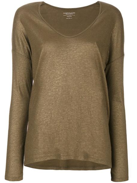 Majestic Filatures - scoop neck sweater - women - Silk/Cotton/Cashmere - 3, Yellow/Orange, Silk/Cotton/Cashmere