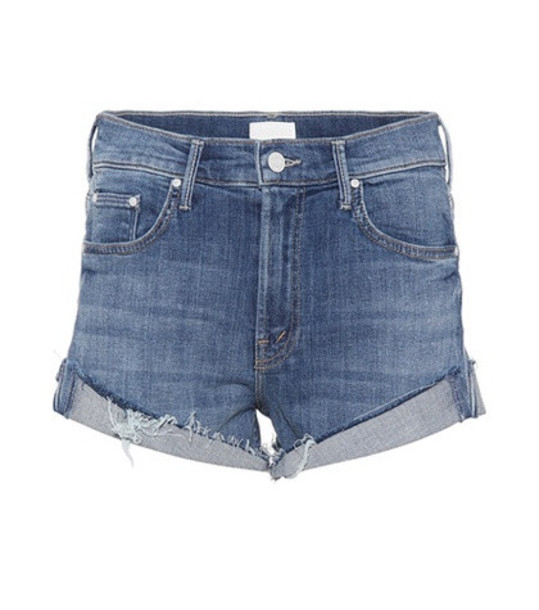 Mother Rascal cuffed denim cut-off shorts in blue