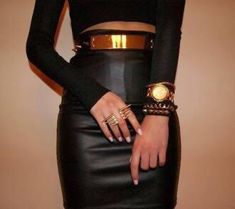 belt gold belt metal gold waist belt jewels skirt shirt gold and black belt studded studded belt leather skirt