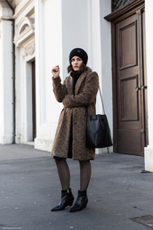 viennawedekind,blogger,coat,sweater,skirt,bag,tights,shoes,hat,winter outfits,wool coat,beanie,bucket bag,ankle boots