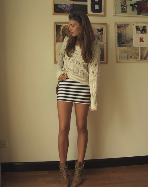 dress stripes skirt mini dress mini skirt sweater crop tops knitted sweater top