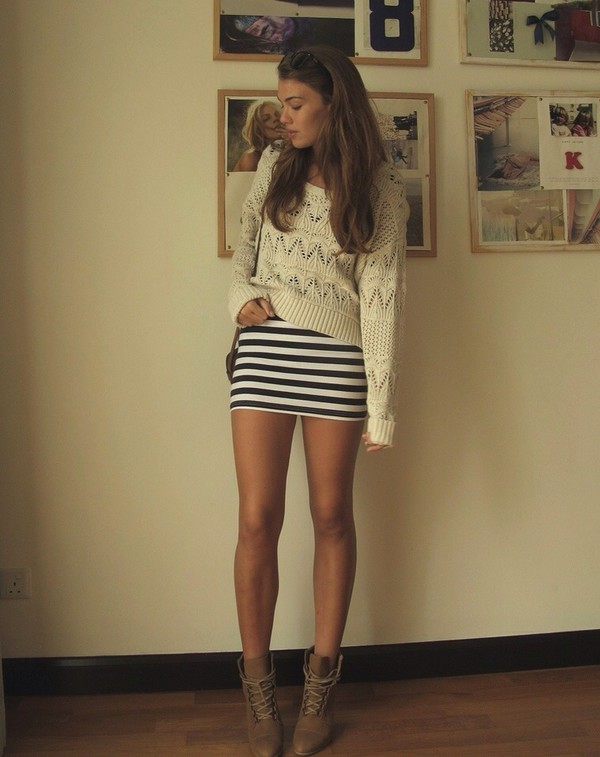 Dress: stripes, skirt, mini dress, mini skirt, sweater, crop tops ...