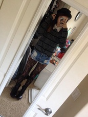 blouse,acacia brinley,cacia,top,cute,grey,hat,shorts,sweater,shoes,pants,underwear,model,combat boots,lace flower tights