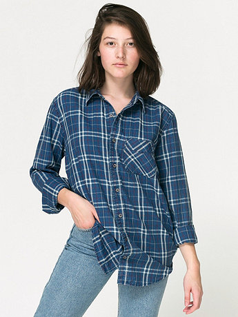 Unisex plaid cotton twill long sleeve button