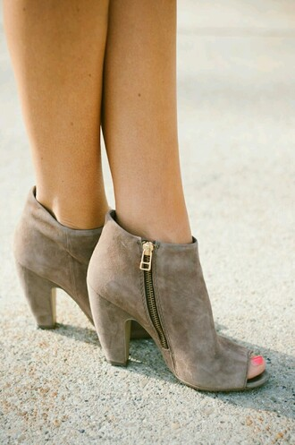 shoes boots booties ankle boots peep toe boots open toes heal nude zip gold zipper brown boots brown booties heels open toed boots open toed booties fashion style peep toe heels beige taupe brown nude boots mid heel boots