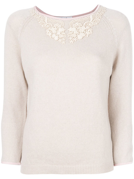 Blugirl sweater embroidered women lace nude wool