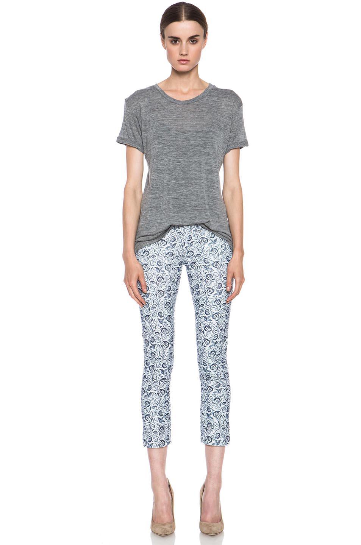 Isabel Marant Etoile|Irwin Velvet Floral Pant in Blue
