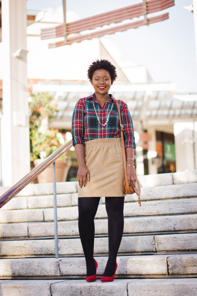 pinksole blogger shoes jewels shirt skirt tights bag mini skirt beige skirt plaid shirt pumps shoulder bag