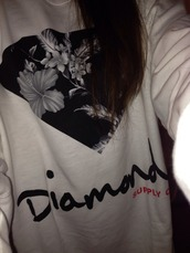 sweater,floral decal,diamond supply co.,white sweathirt