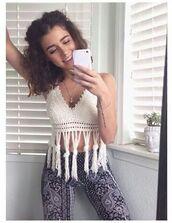 shirt,knit,tank top,white,cropped,tassel,simplykenna,simply_kenna