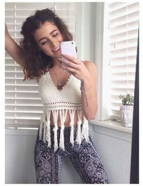 shirt crochet knit tank top white cropped tassel simplykenna simply_kenna