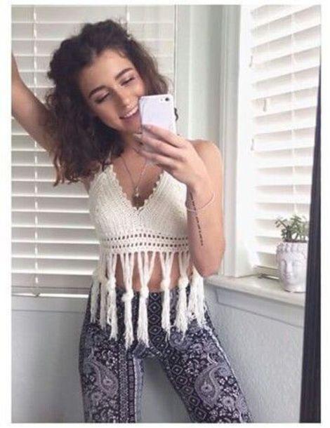 shirt knit tank top white cropped tassel simplykenna simply_kenna