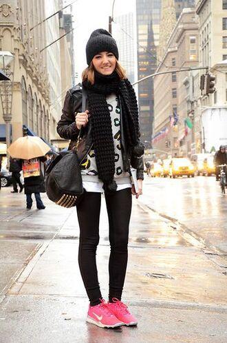 shoes black beanie animal print sweater black leggings leather jacket nike sneakers blogger