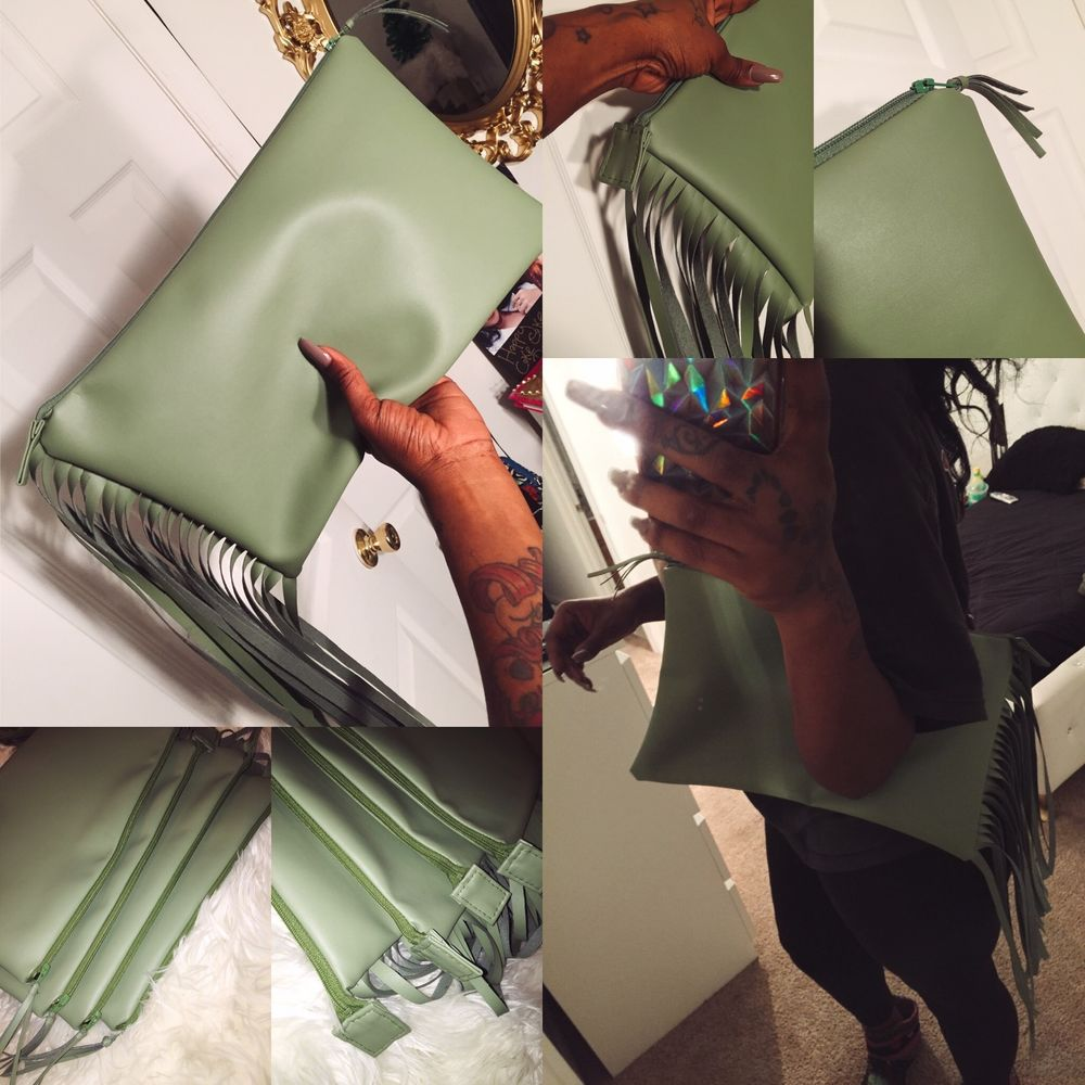 Pea Green Fringe Clutch