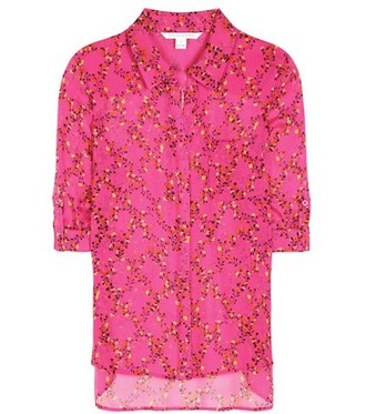 shirt silk pink top