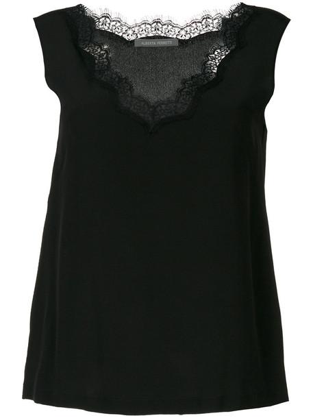 Alberta Ferretti top women lace cotton black silk
