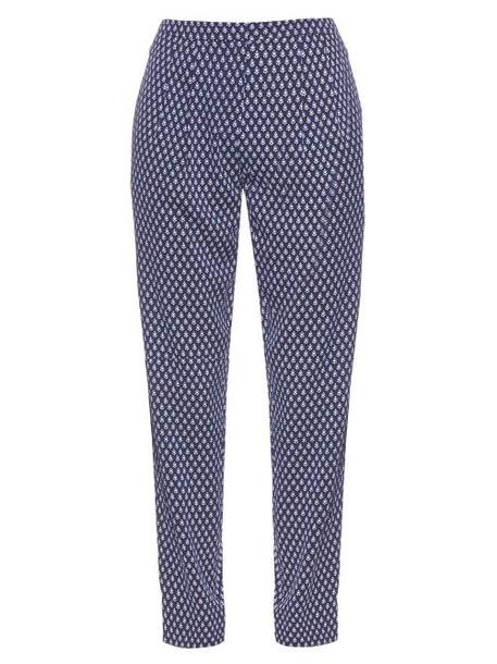Diane Von Furstenberg navy white pants
