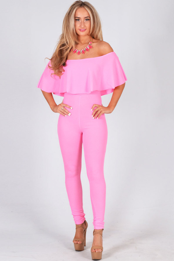 Ladies Eyad Crepe Fabric Off The Shoulder Ruffle Jumpsuit