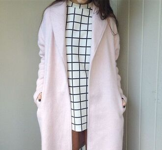 coat pink pink coat dress girly tumblr outfit cute style fashion blouse black and white winter coat aesthetic aesthetic tumblr tumblr tumblr dress grid black and white dress