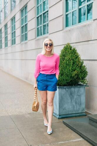 lemon stripes blogger jeans sweater shorts bag blue shorts pink sweater spring outfits