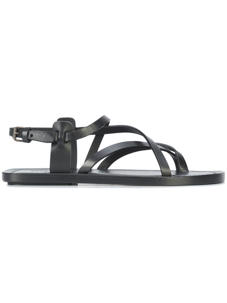 Saint Laurent strappy women sandals strappy sandals leather black shoes