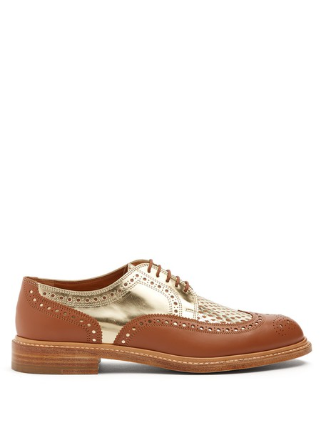 shoes lace leather tan gold