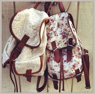 bag white bag flowers hipster