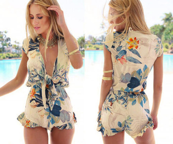 Aliexpress.com : Buy New Sexy Fashion Women Floral Playsuit Summer Flouncing Sleeveless Romper Print Overall Short Jumpsuit Macacao from Reliable Jumpsuits & Rompers suppliers on Dola's Wardrobe | Alibaba Group