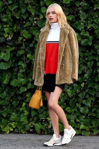 coat skirt top sneakers kate bosworth fall outfits shoes fur coat