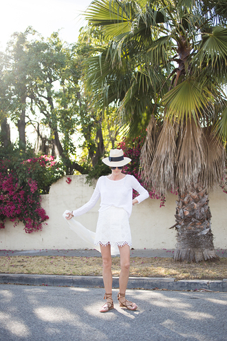 could i have that blogger hat white skirt white top flat sandals