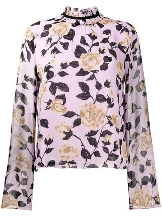 top women floral print purple pink