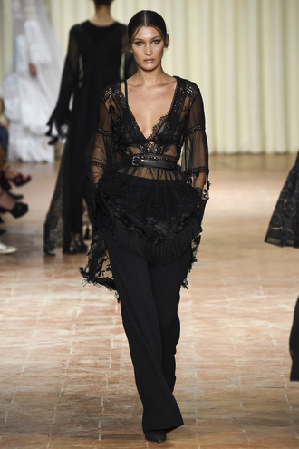 blouse plunge v neck bella hadid milan fashion week 2016 all black everything runway model lace top lace pants belt alberta ferretti