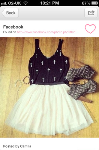 skirt white skirt skater skirt tank top top black cross style summer shoes white lita high heels clothes bracelets platform shoes lita platform boot jeffrey campbell crop tops dress whiteskirt cross shirt cute shirt t-shirt blouse white crosses crosses goth hipster pastel goth