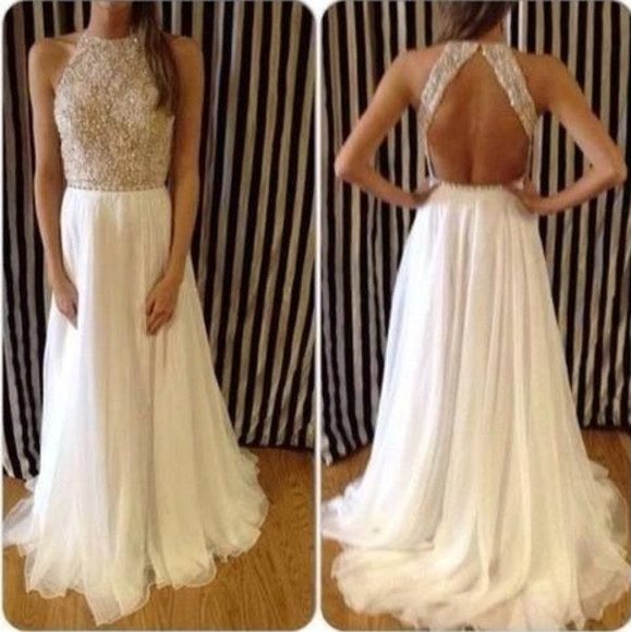 dress sequin prom dress white