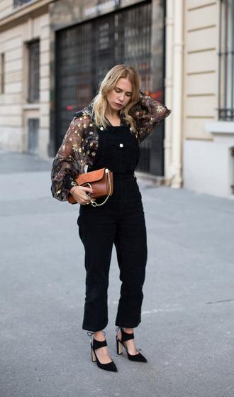 always judging blogger denim overalls printed blouse leather bag