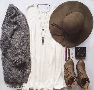 cardigan hat grey brown shirt