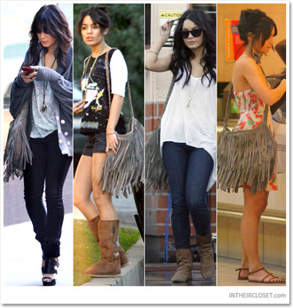 grey bag fringes hobo bag vanessa hudgens bag