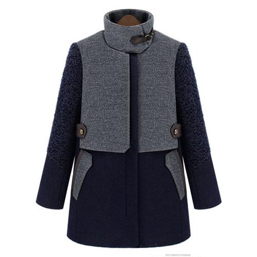 Fashion shopping mall — [gzxy0311]fashion contrast color fur collar hooded warm woolen coat