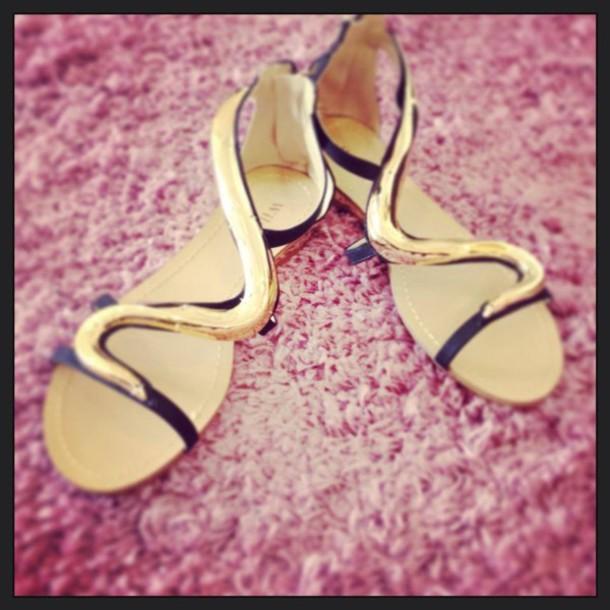 shoes golden shoes flat sandals
