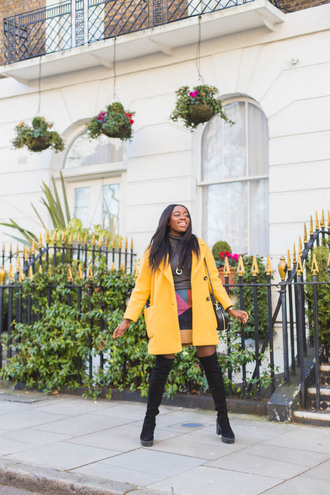 iwantyoutoknow blogger coat sweater skirt shoes bag yellow jacket boots over the knee boots shoulder bag winter outfits