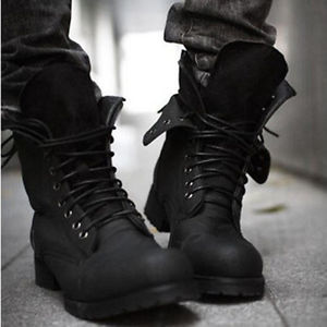 Combat boots Winter punk-style fashionable Men's short Black shoes