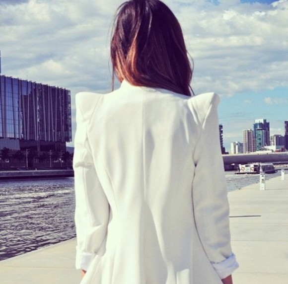 jacket blazer white blazer white white jacket powershoulder power shoulder shoulder elegance chic class