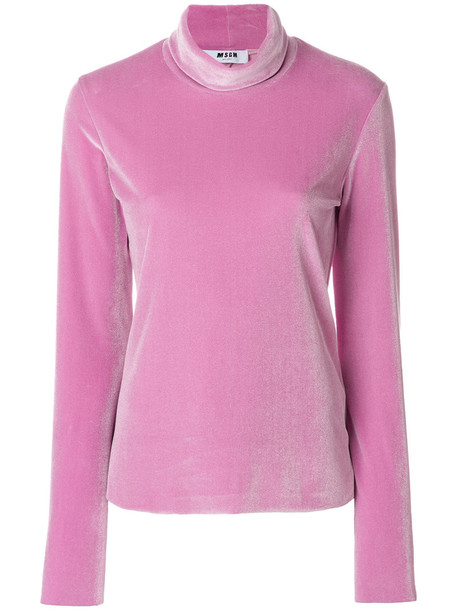 MSGM blouse women spandex purple pink top